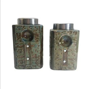 PIER 1 Stoneware Canister Set 2-piece Rustic Green